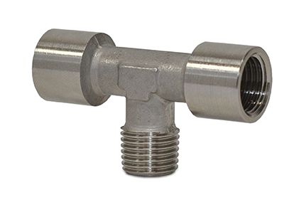 "Standard fittings in AISI316 stainless steel, threads from 1/8"" to 1/2"""