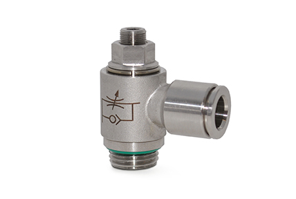 "Flow regulators in AISI316 stainless steel, threads from 1/8"" to 1/2"""